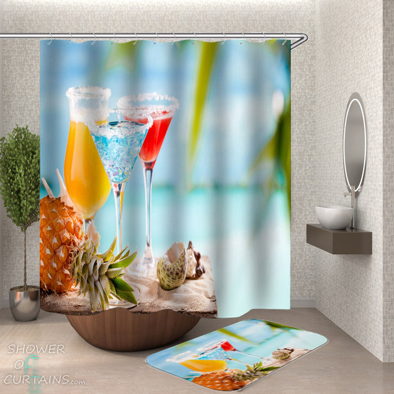 Beach Shower Curtain - Cocktails On the Beach
