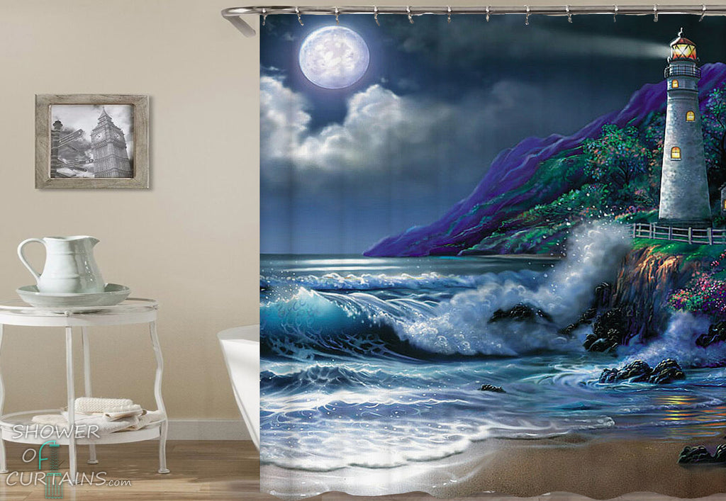 Beach Shower Curtain of Lighthouse Painting