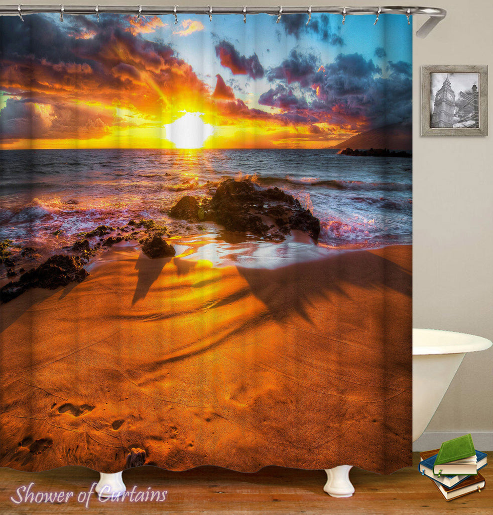 Beach Shower Curtain of Stunning Sunset