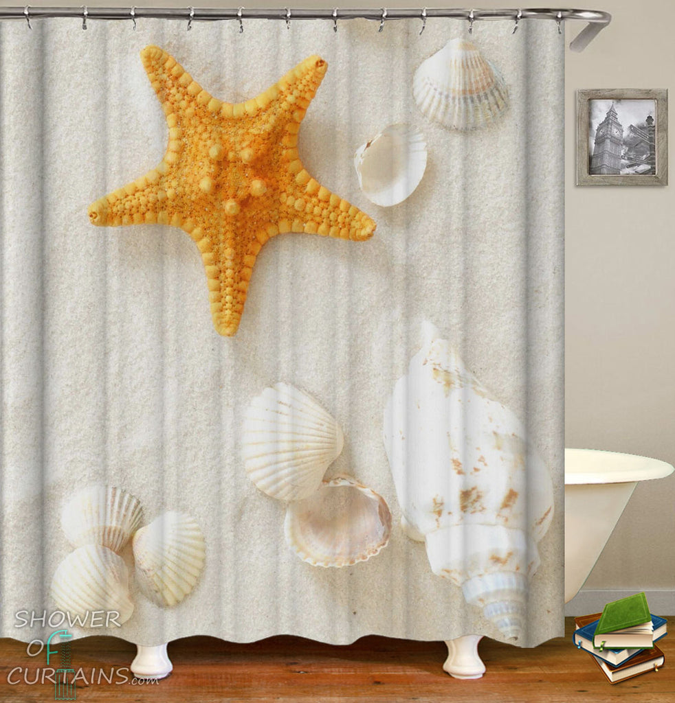 Beach Shower Curtain of Yellow Starfish And Seashells Shower Curtains Design