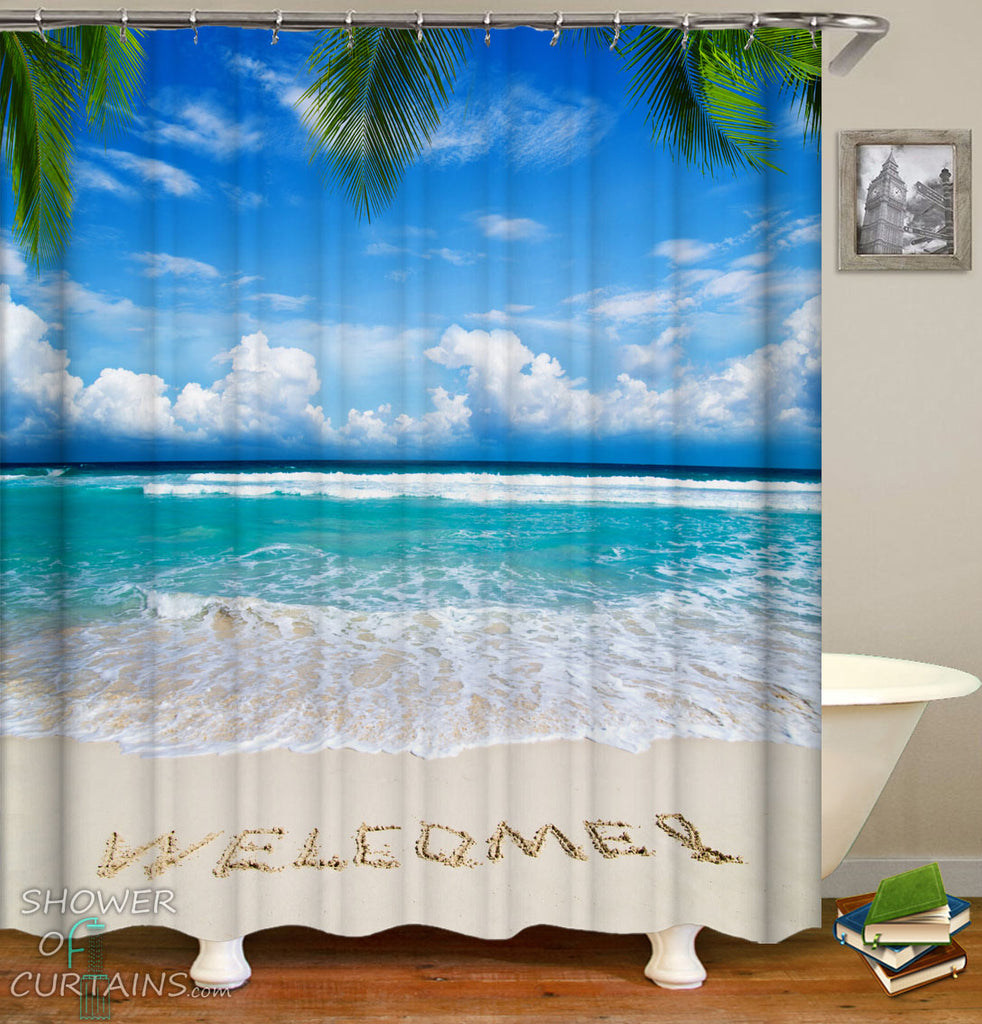 Beach Theme Shower Curtain of Welcome Beach Shower Curtain