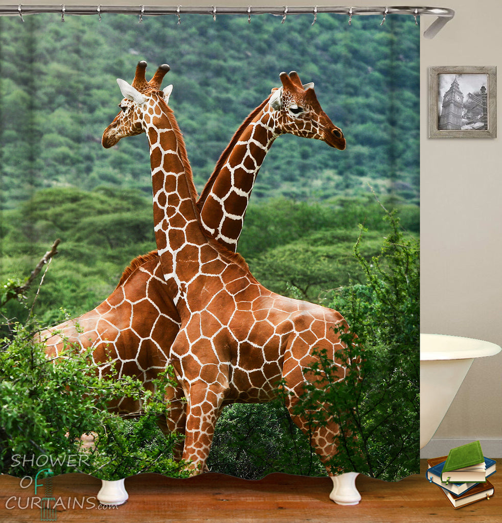Beautiful Two Giraffes Shower Curtain