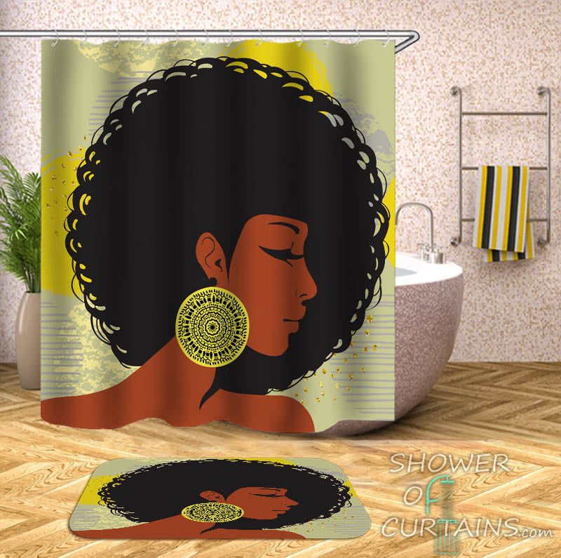 Beautiful Afro Girl Shower Curtain