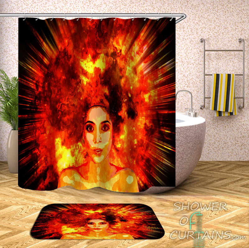 Beautiful Girl Shower Curtain - Real Explosion Hair