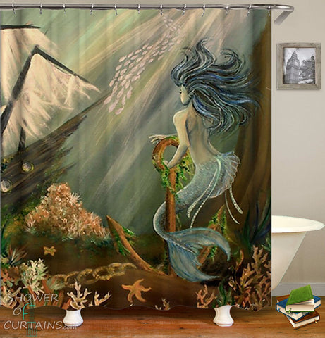 Beautiful Mermaid And Pirate Ship shower curtain