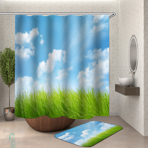 Beautiful Shower Curtains and Bath Mats of Green Grass Under The Blue Sky