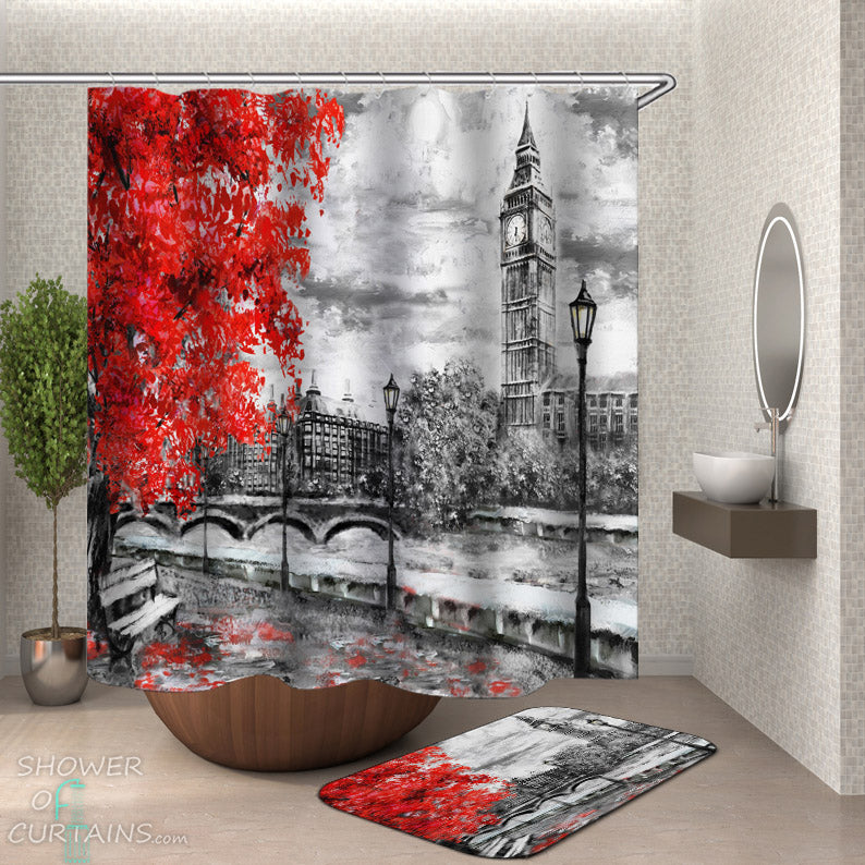 Big Ben Shower Curtain - Art Fall London Shower Curtain