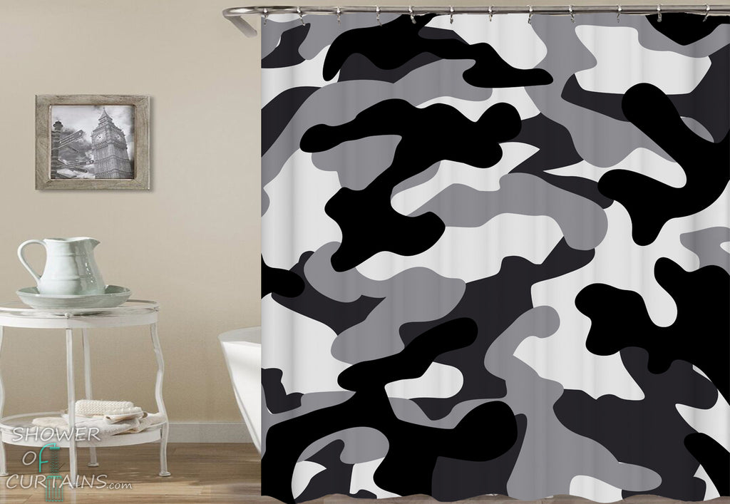 Black And Grey Camouflage Shower Curtain
