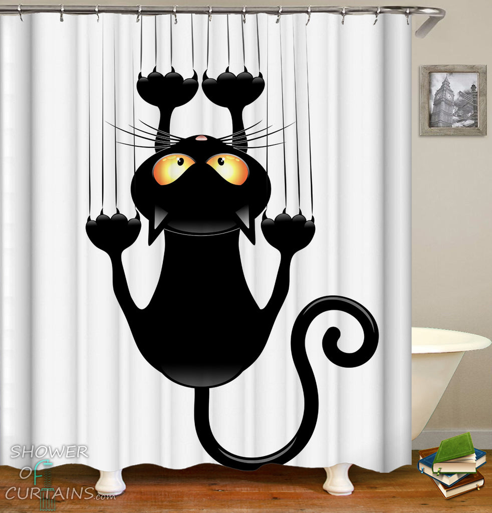 Black And White Cat Shower Curtain - Slippery Cat 2.0