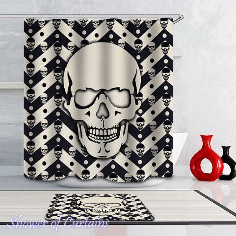 Black And White Chevron Skulls Shower Curtain  - Skull Bath Mat