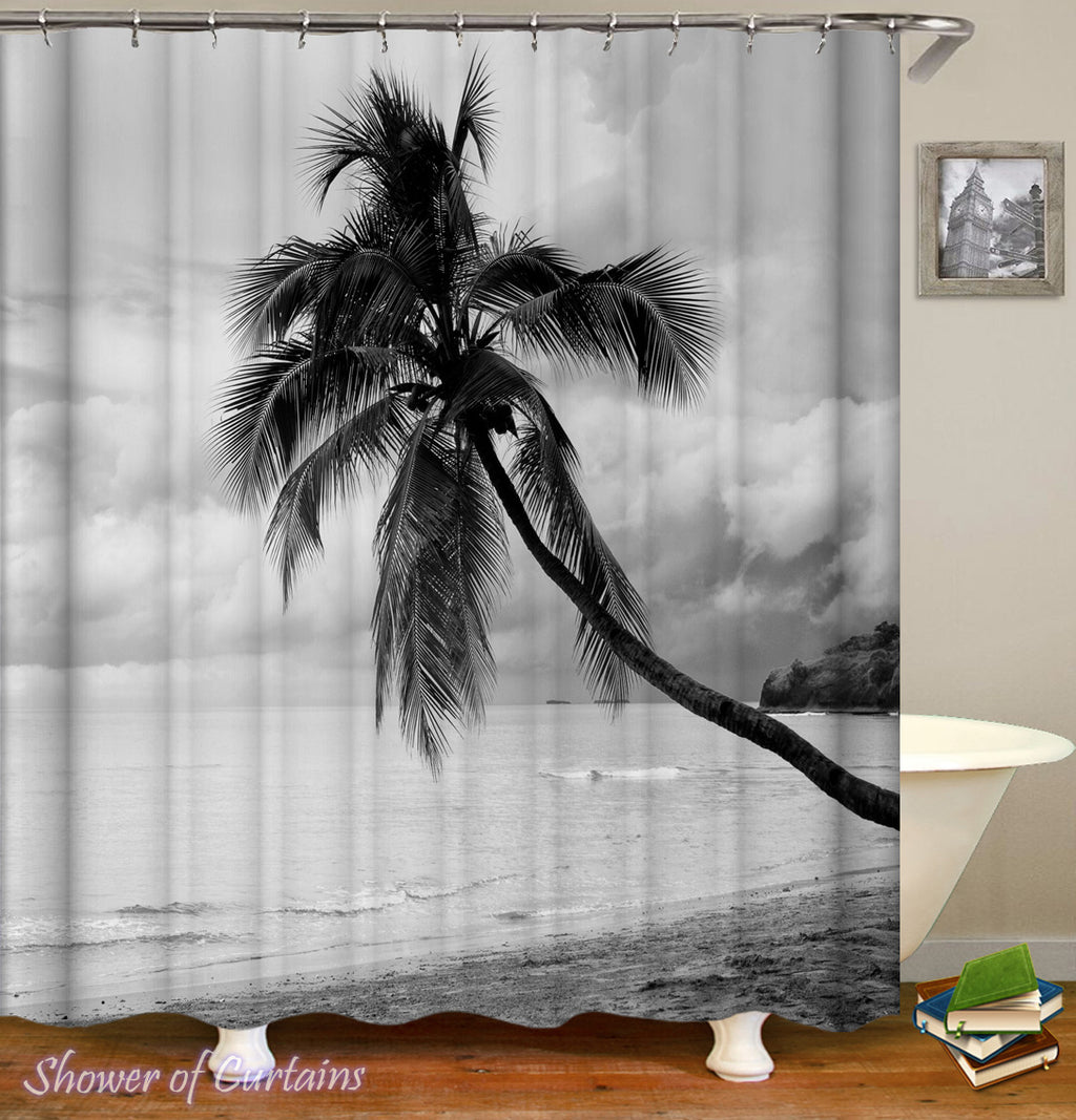 Black And White Coconut Tree shower curtain