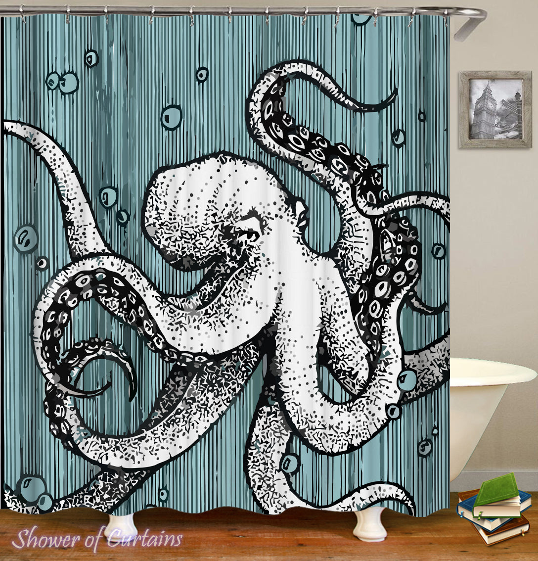 Black And White Octopus Shower Curtain