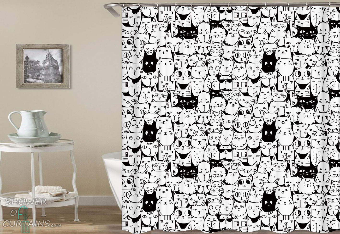 Black And White Shower Curtain Abstract Lines Print For Bathroom Shower Curtains Home Garden