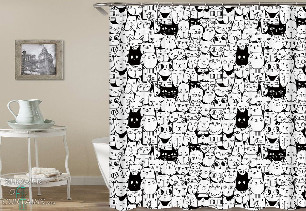 Black And White Shower Curtain of Black And White Cats Pattern - Cat Bathroom Decor