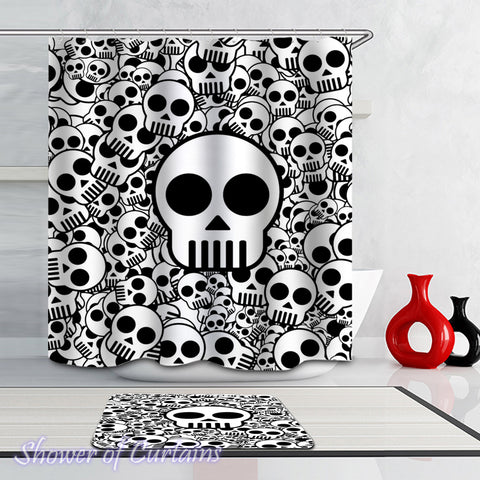 Black And White Simple Skulls Shower Curtains