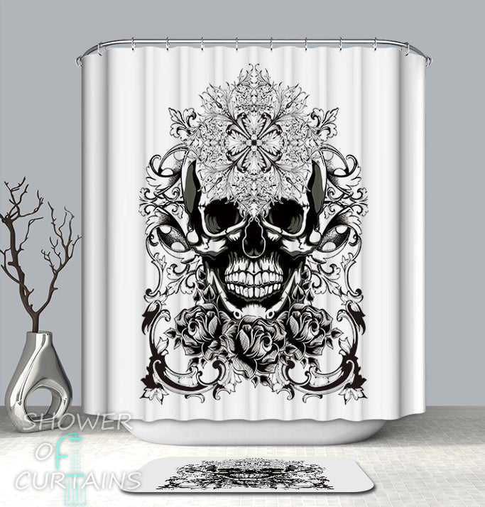 Black And White Skull Shower Curtain Of Oriental