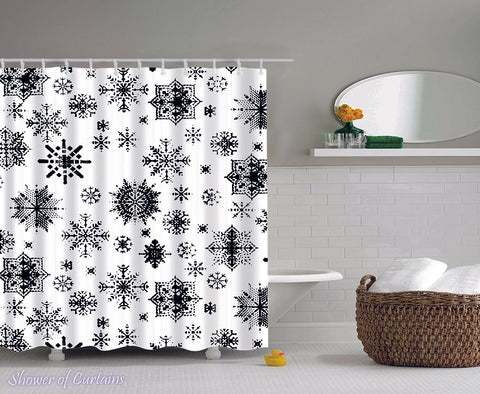 Black And White Snowflakes Shower curtain design