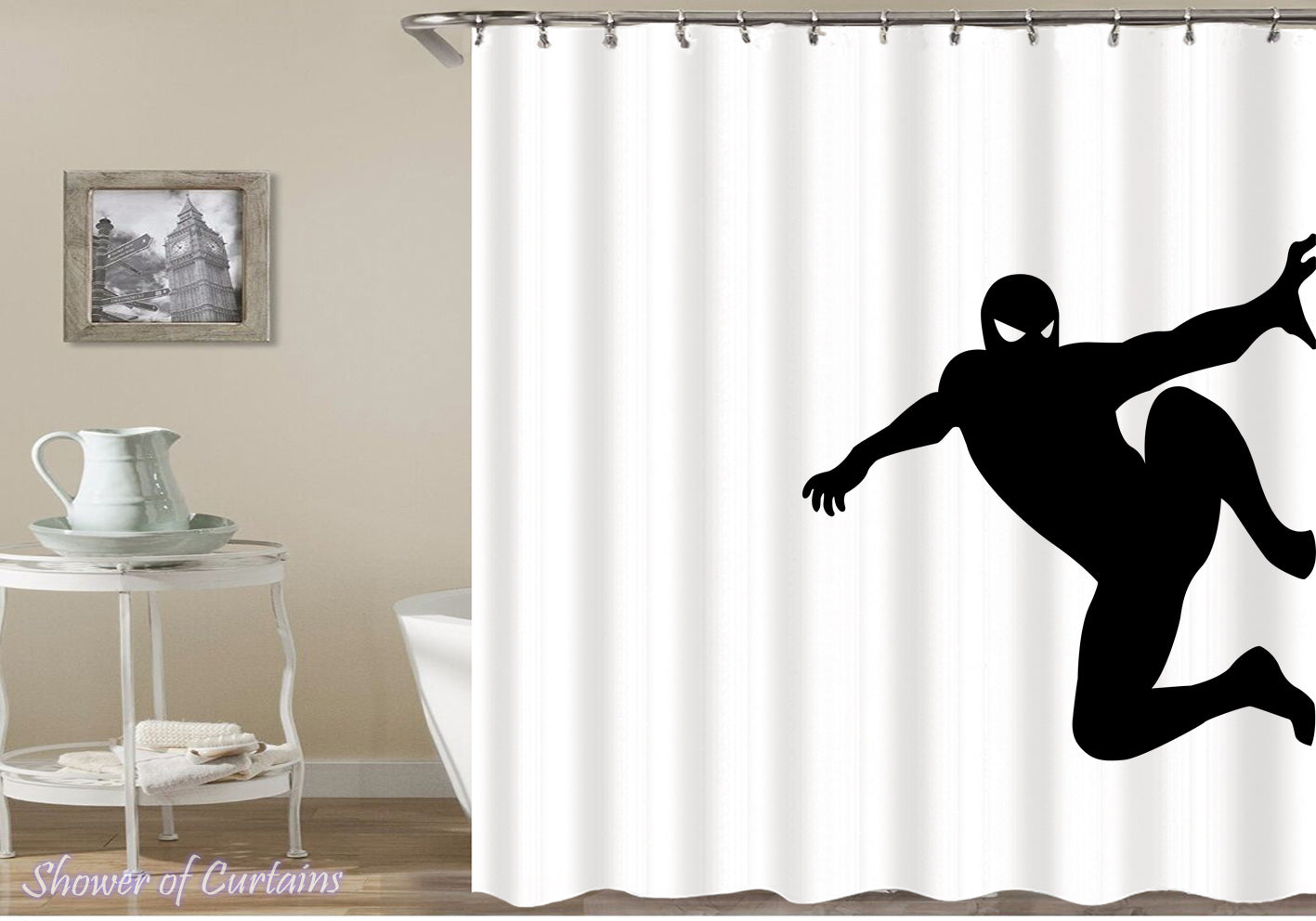 Black And White Spiderman Shower Curtain