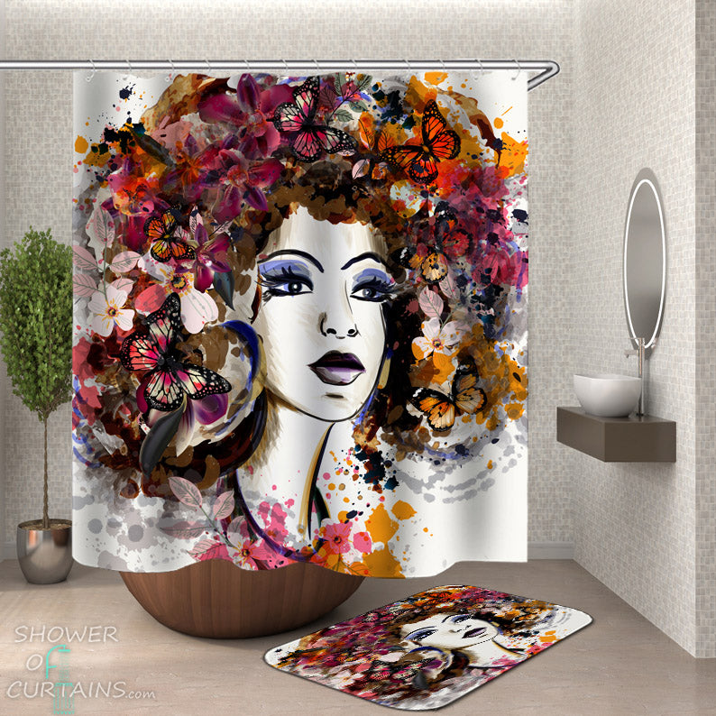 Black Girl Shower Curtain - Butterflies Afro Shower Curtain