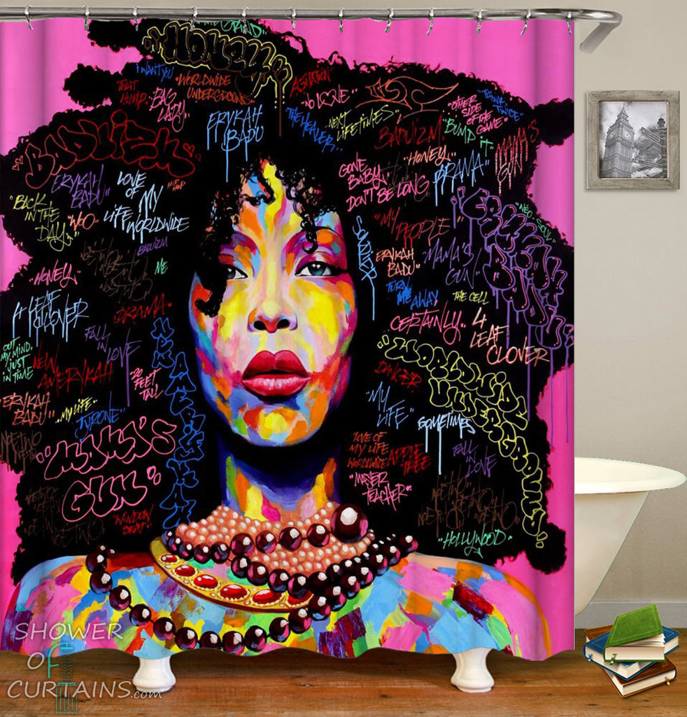 Black Girl Shower Curtain - Beautiful Black Woman Shower Curtain