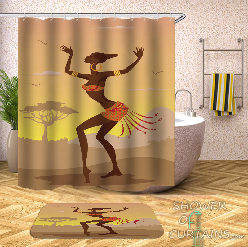 Black Girl Shower Curtain Features Dancing African Woman