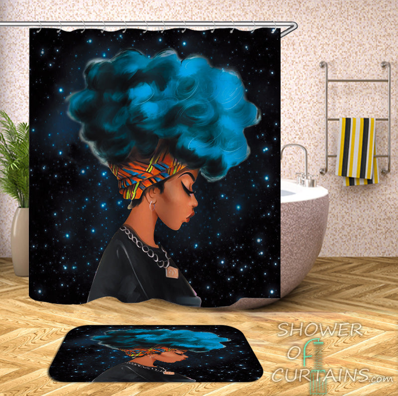 Black Girl Shower Curtain of Blue Afro Beautiful Girl Shower Curtain