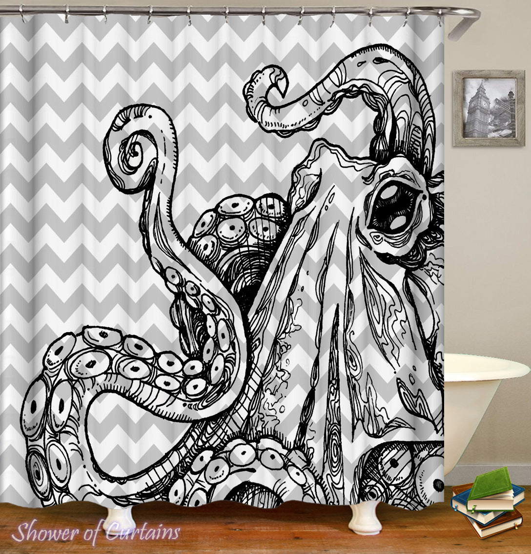 Black N White Octopus Shower Curtain
