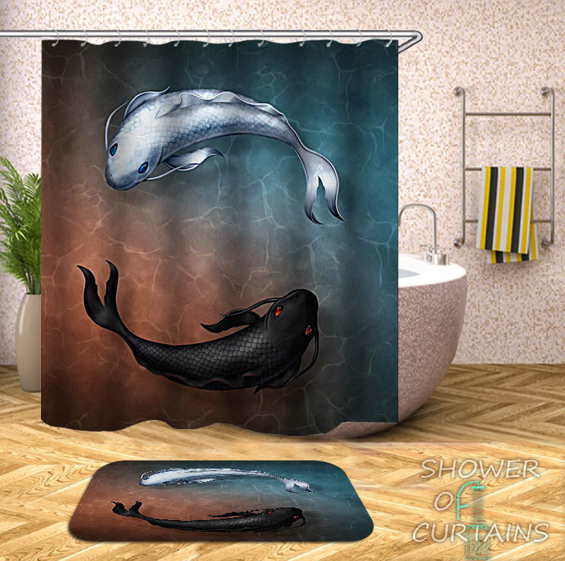Black White Koi Fish Shower Curtain