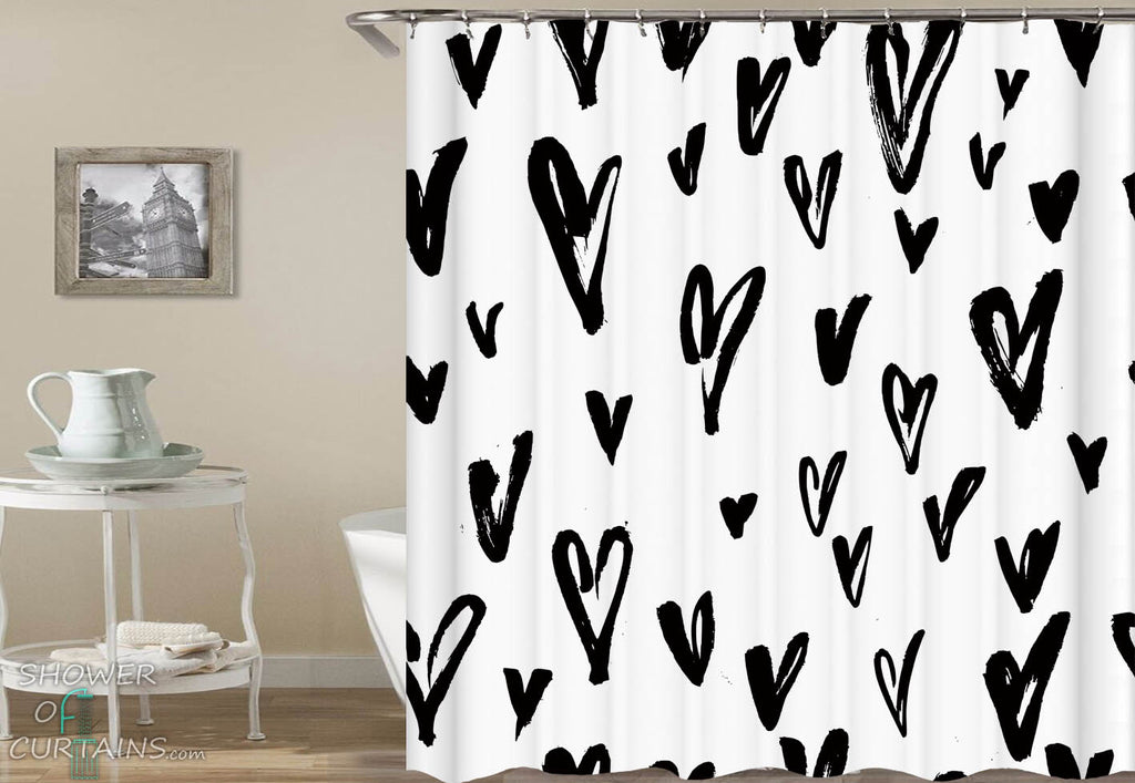 Black and White Heart Pattern Shower Curtain - Black And White Bathrom Decor