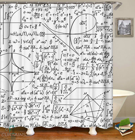 Black and White Shower Curtain of Black And White Equations