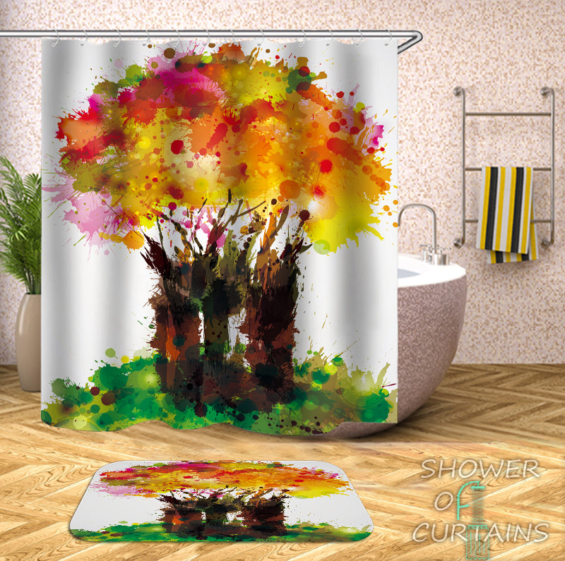 Blast Of Paint Tree Shower Curtain - Colorful