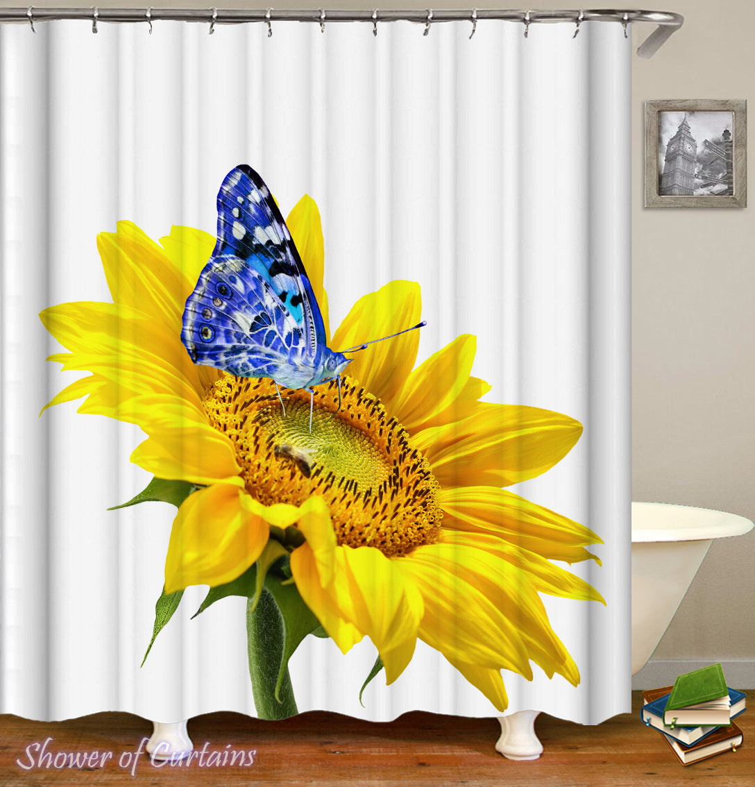Blue Against Yellow Sunflower Shower Curtain