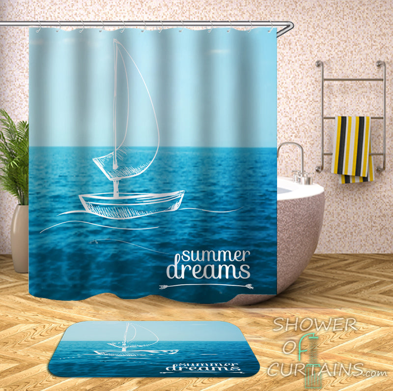 Blue Shower Curtain of Summer Dreams On A Boat