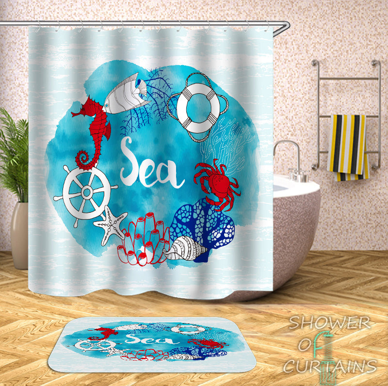 Blue beach shower curtain of Coastal Life