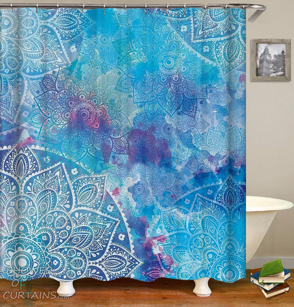 Bluish Mandala Shower Curtain - Oriental Bathroom