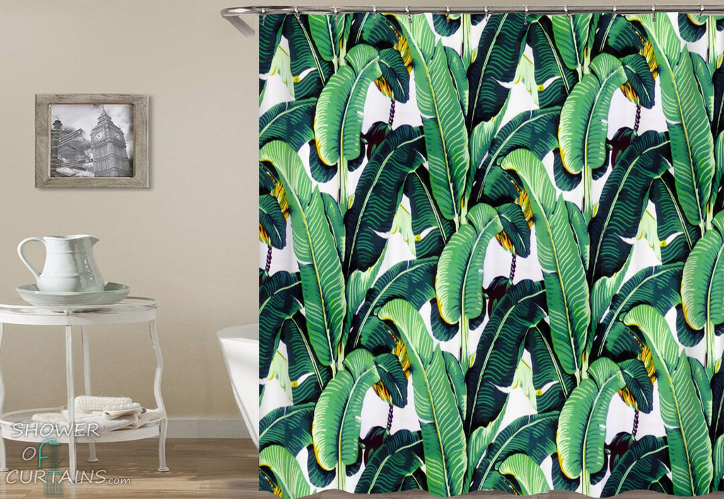 Bright Banana Leaf Shower Curtain - Tropical Themed Bathroom