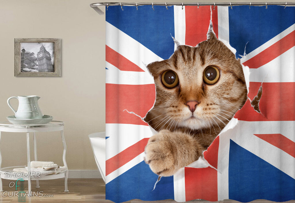 British Bad Cat Shower Curtain