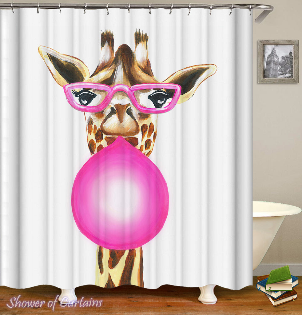 Bubble Gum Lady Giraffe shower curtain