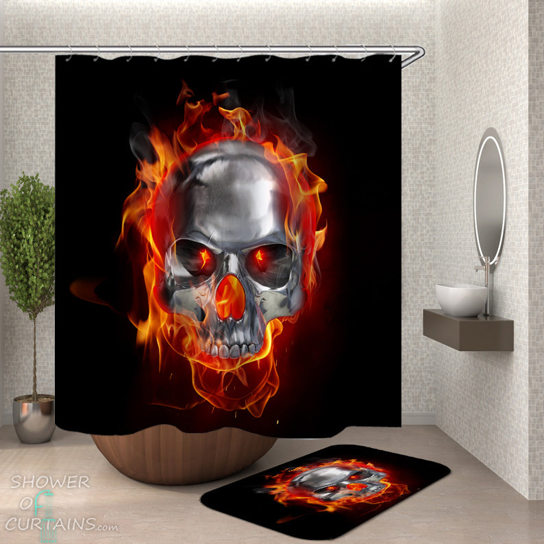 Burning Skull Shower Curtain