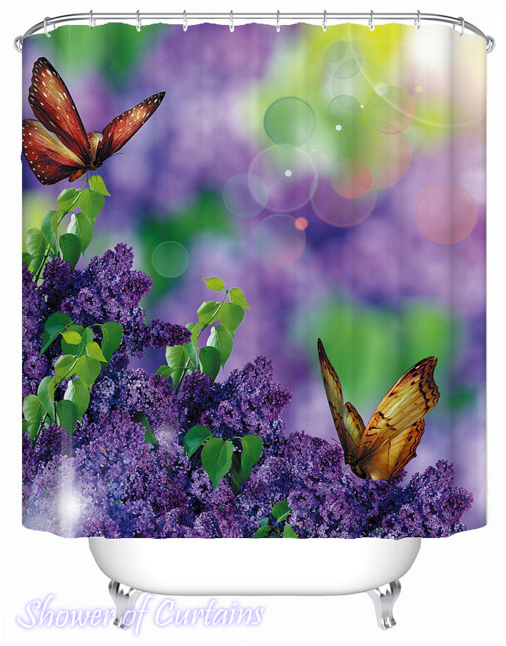Butterflies And Lavender Purple Shower Curtain