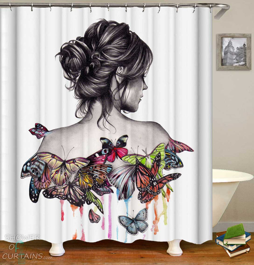Butterfly Girl Art Shower Curtain
