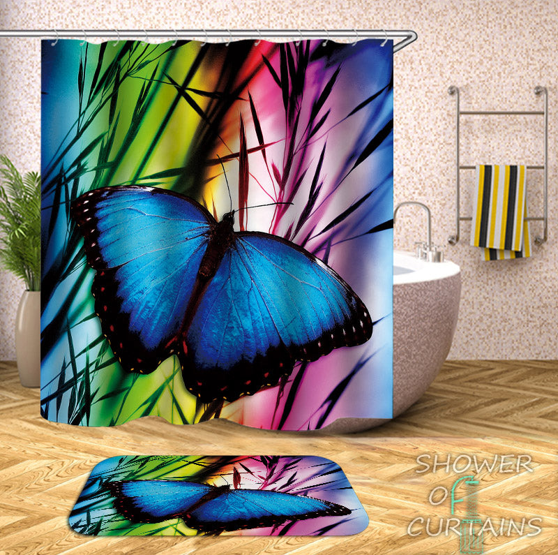 Butterfly Shower Curtain of Butterfly Over The Rainbow Color Bathroom