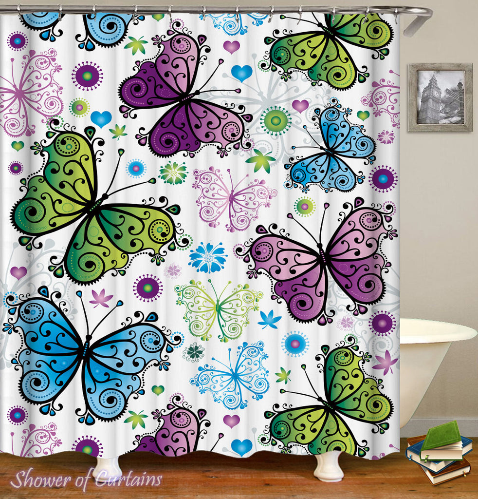Butterfly Shower Curtains of Blue Green Purple Butterflies