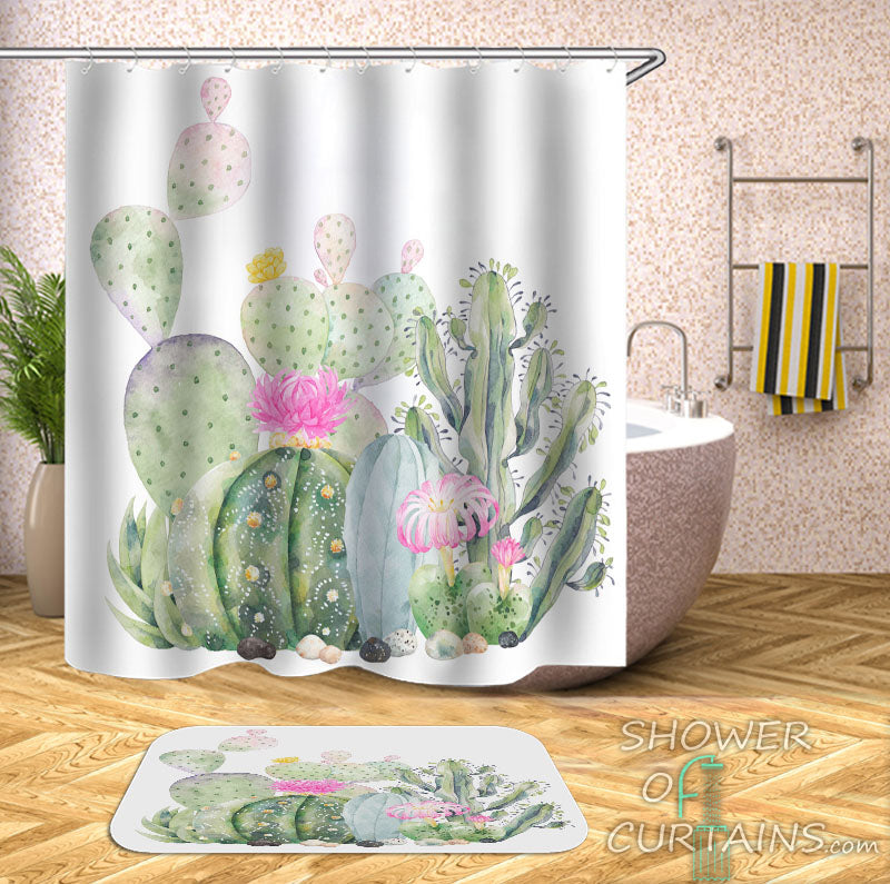 Cactus Art Shower Curtain - Cactus Shower Curtains
