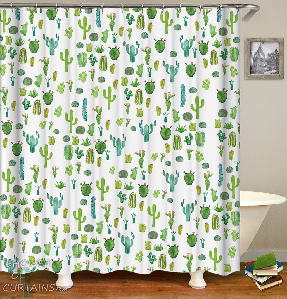 Cactus Pattern Shower Curtain - Modest Bathroom Decor