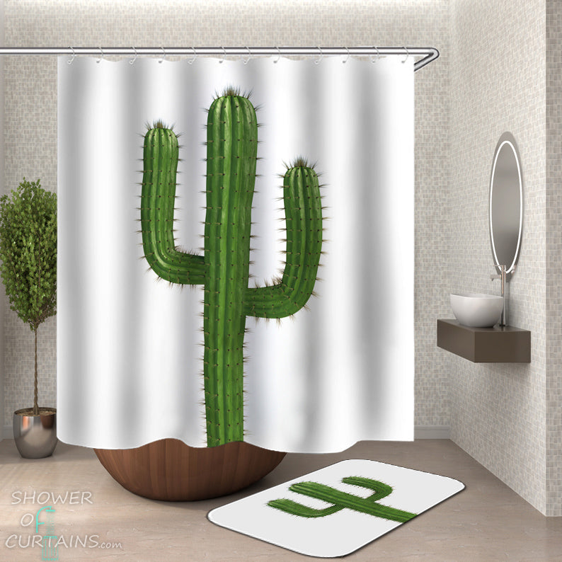 Cactus Shower Curtain and Bath Mat