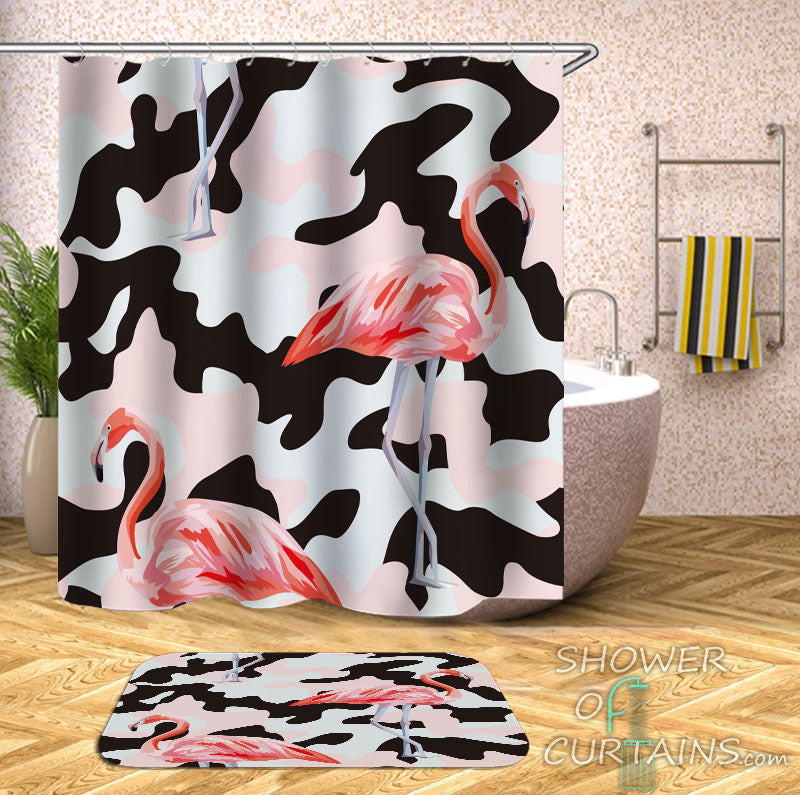 Camouflaged Flamingos Shower Curtain