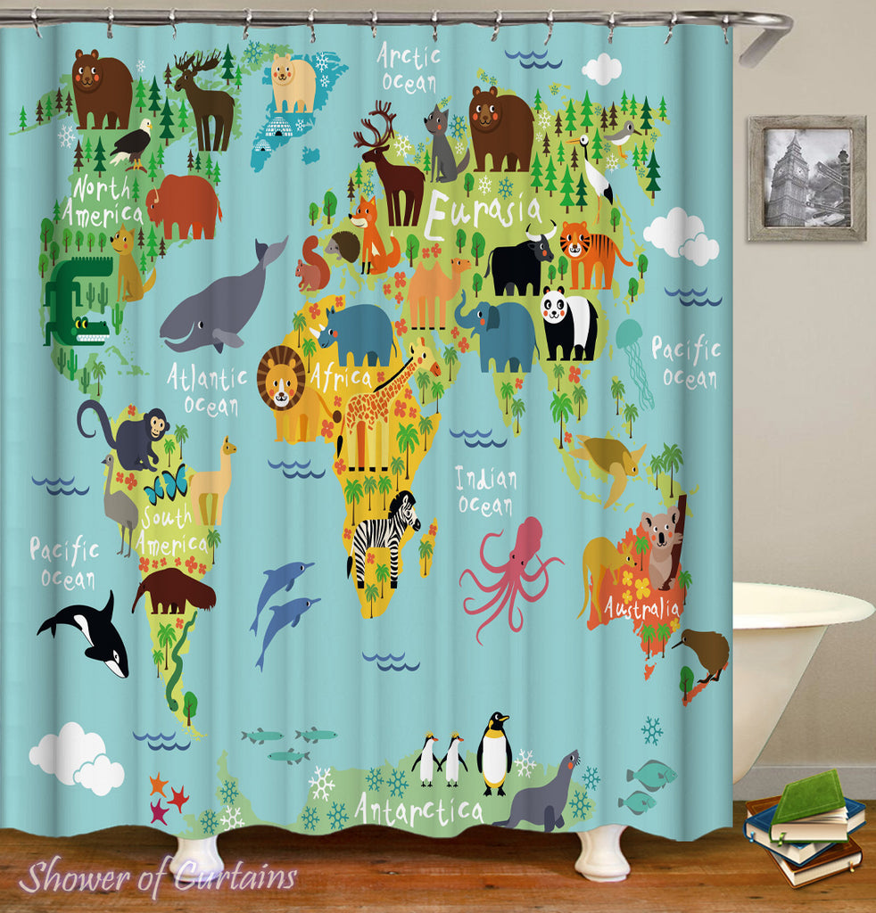 Cartoon Animals Introduce World Map Shower Curtain