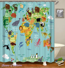cartoon-animals-introduce-world-map-shower-curtains