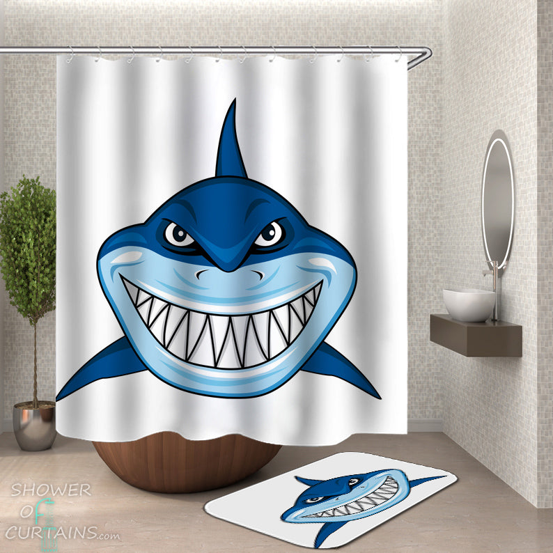 Cartoon Shark Shower Curtain